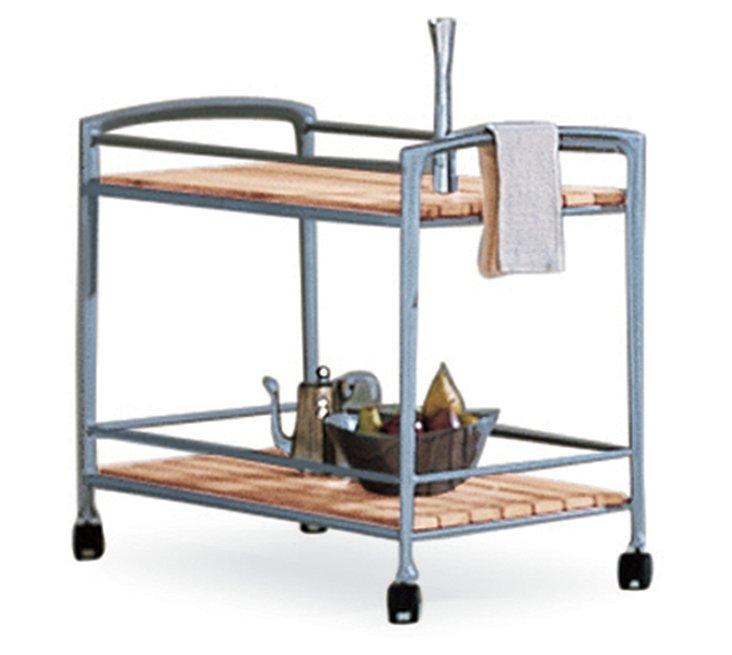Silver Teak Bar Cart