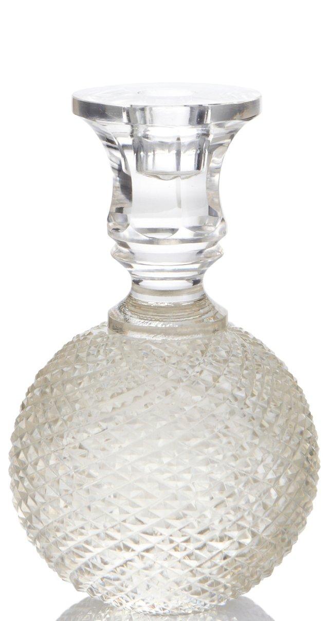 Glass Diamond-Cut Candlestick, Large