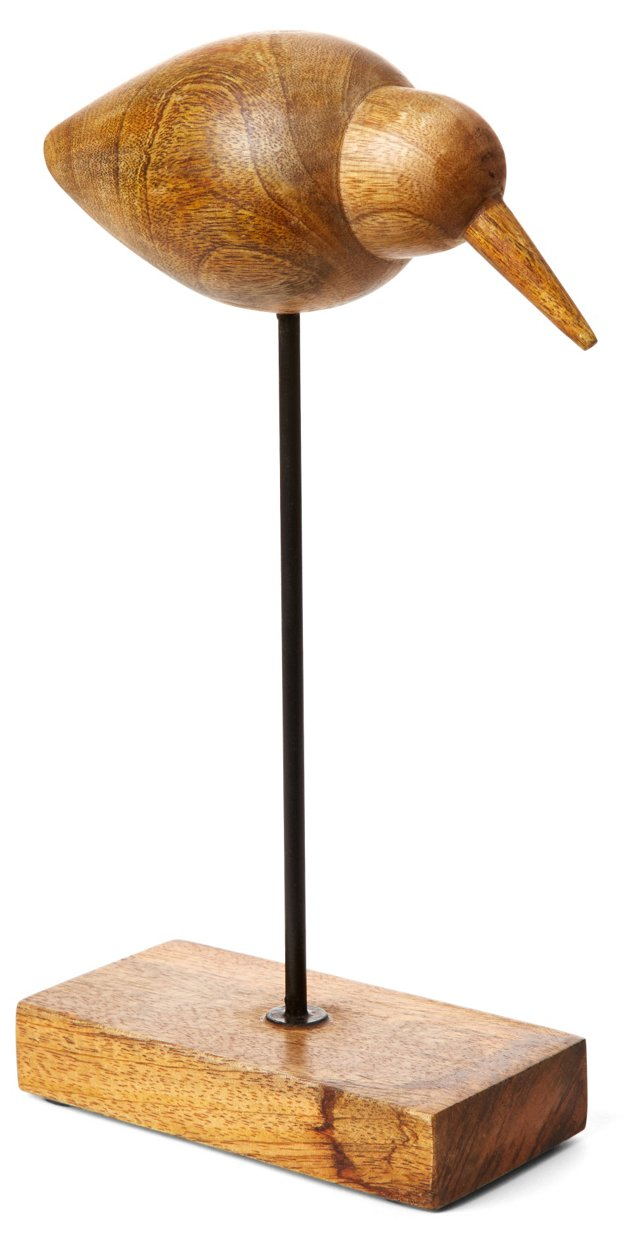 """11"""" Wood Bird on Stand, Natural"""