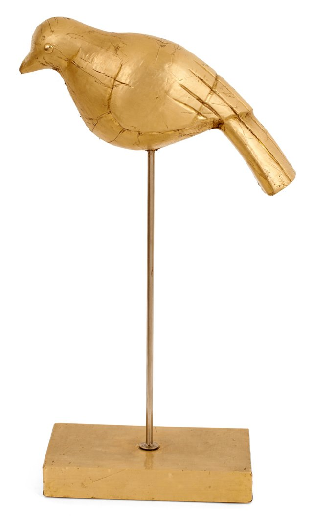 "16"" Wood Bird on Stand, Brass"