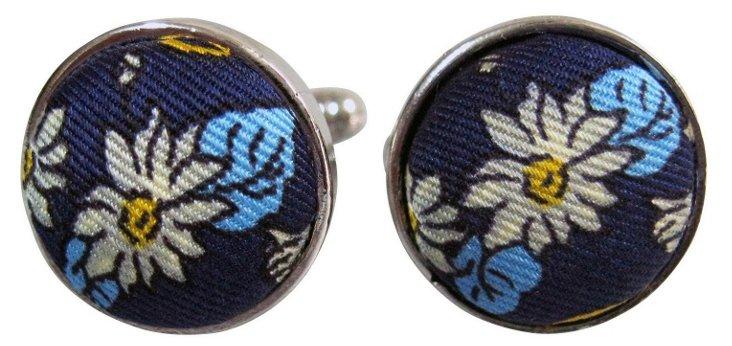 Navy Floral Cufflinks