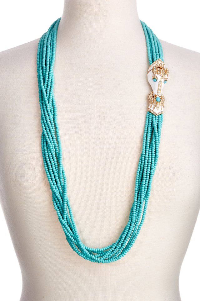 18K Gold Horse & Turquoise Bead Necklace