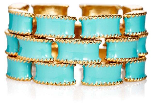 Triple Row Link Blue Bracelet