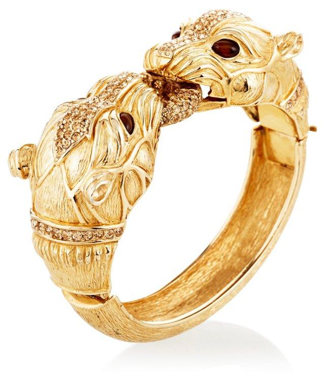 Brushed Gold Lions Heads Bracelet