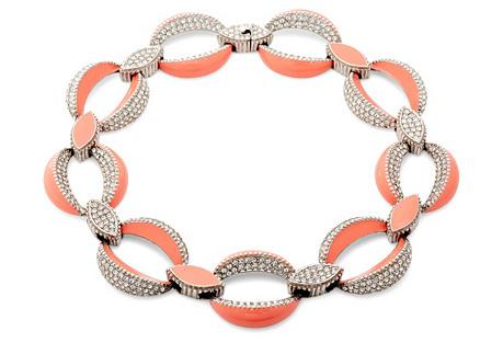 Coral Enamel & Rhinestone Necklace
