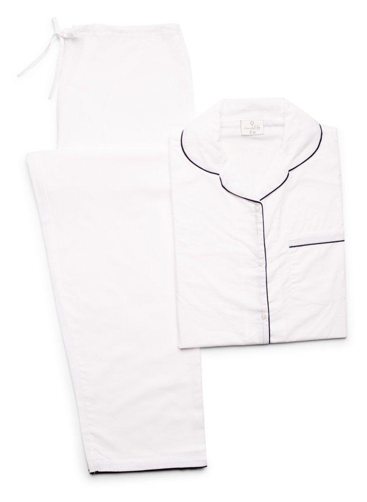 Piped Pajama Set, White/Navy