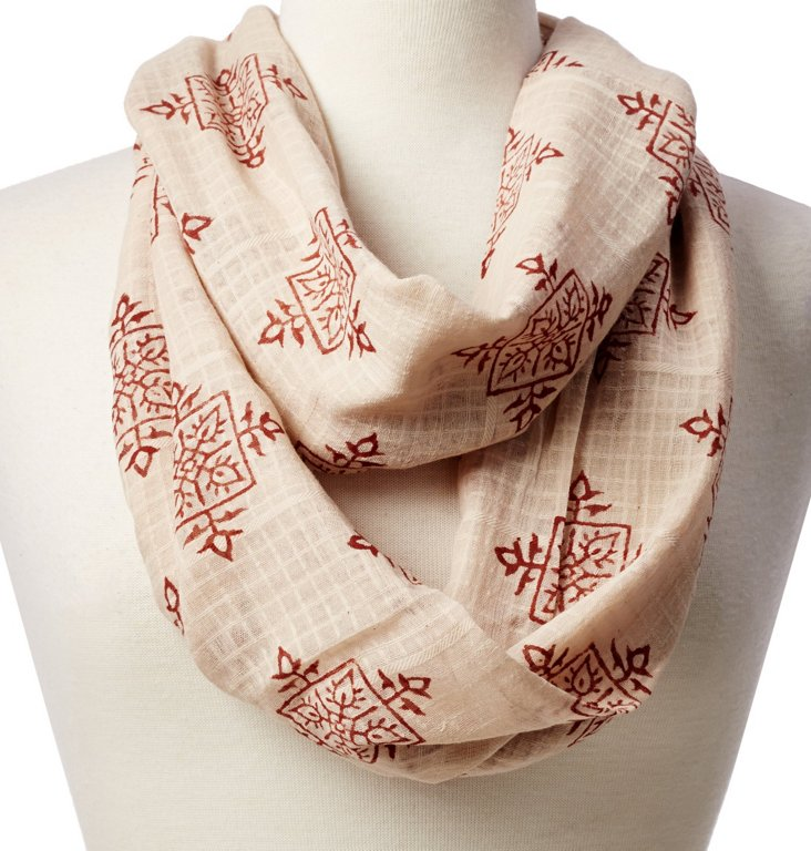 Tribal Pattern Scarf, Red