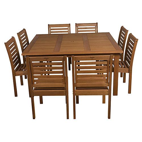 Eucalyptus 9-Pc Square Patio Dining Set