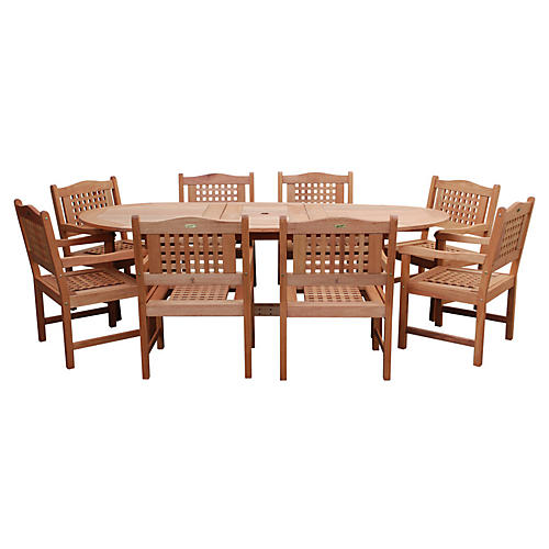 Milano Eucalyptus Extendable Table Set