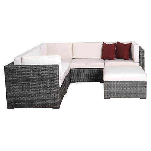 Bellagio 6-pc Wicker Set, Gray/White