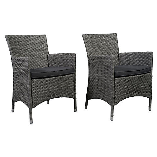 Gray Liberty Patio Armchairs, Pair