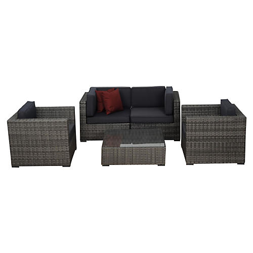 Metz 5-pc Wicker Seating Set, Gray