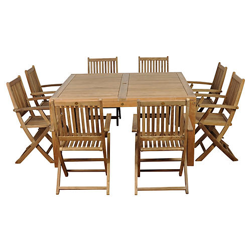 Dubai 9-Pc Teak Square Dining Set