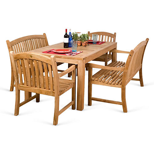 Geneve 5-Pc Teak Dining Set