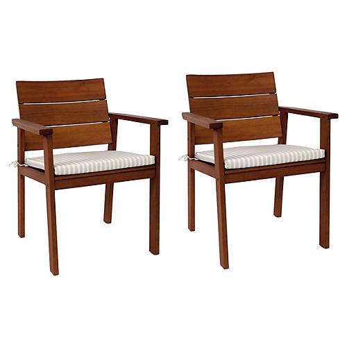 Nelson Carve Eucalyptus Chairs, Pair