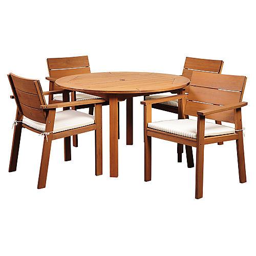 Nelson Eucalyptus 5-Pc Patio Dining Set