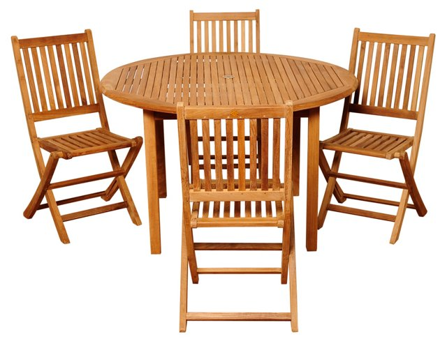Windsor 5-Pc Teak Round Dining Set