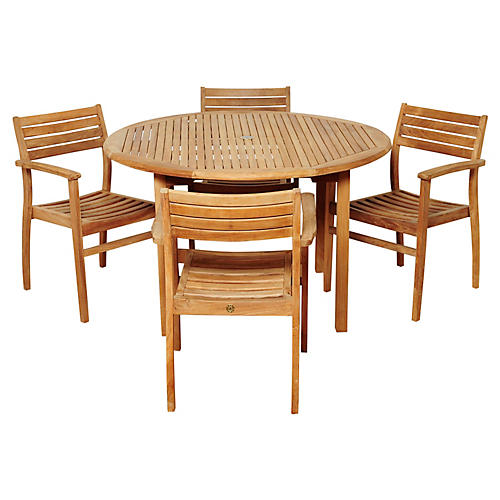 Windsor 2-Pc Teak Dining Set, Natural