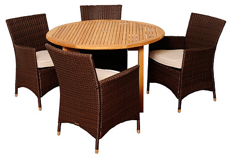 Nate 5-Pc Teak Round Dining Set, White
