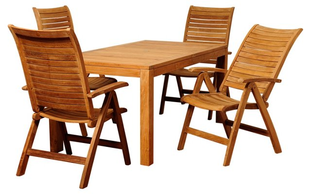 Rita 5-Pc Teak Rectangular Dining Set
