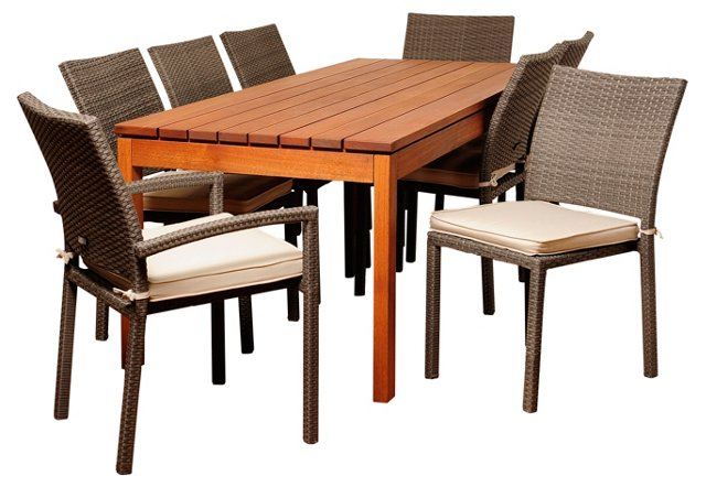 Tash 9-Pc Rectangular Dining Set, White