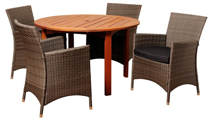 Lara 5-Pc Round Dining Set, Gray