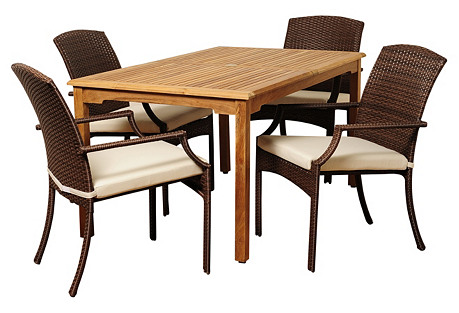 Chris 5-Pc Teak Dining Set, White