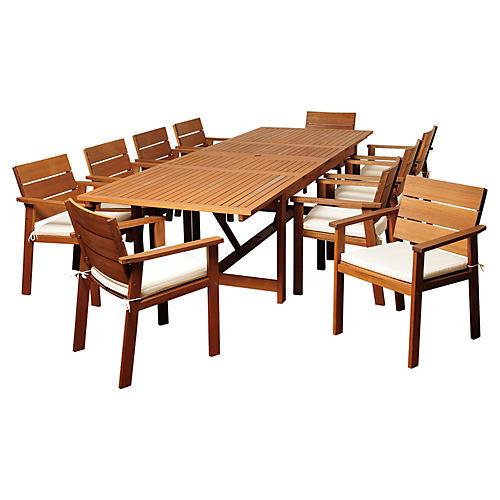 Hank Eucalyptus 11Pc Extendable Dining