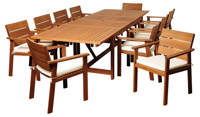 Hank 11-Pc Extendable Dining Set, Beige