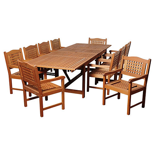 Mitt Eucalyptus 11-Pc Extendable Dining