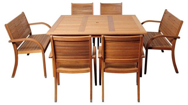 Ally 7-Pc Eucalyptus Square Dining Set
