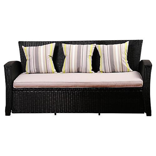 Bridgehampton Wicker Sofa, Black/Gray