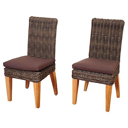 Jamaica Wicker Side Chairs, Pair