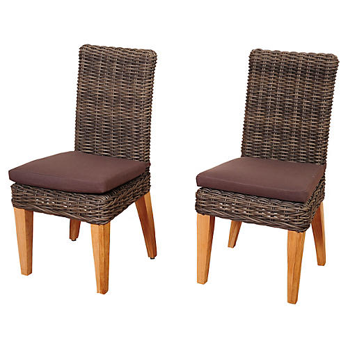 Jamaica Wicker Side Chairs, Pair