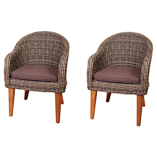 Mexicali Wicker Armchairs, Pair
