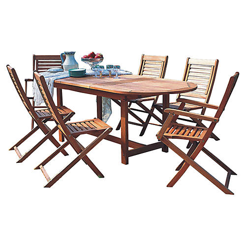 Milano Eucalyptus 7Pc Outdoor Dining Set