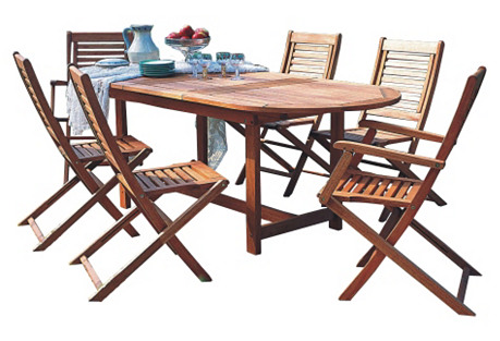 Milano 7-Pc Oval Outdoor Dining Set