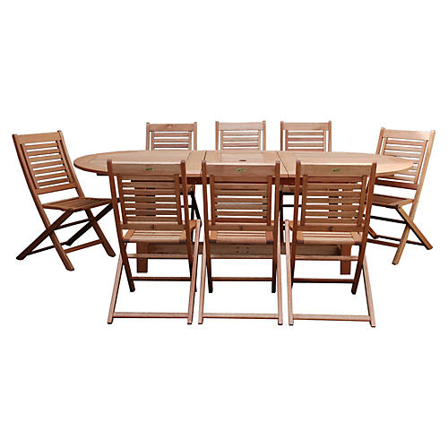 Milano Eucalyptus 9Pc Outdoor Dining Set