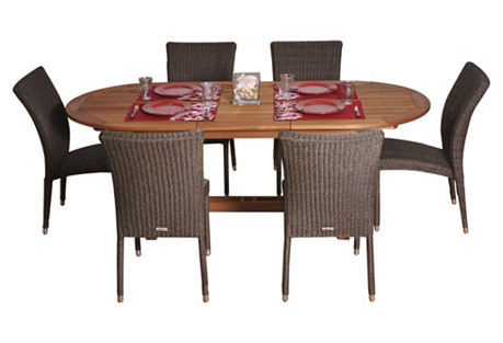 Lemans 7-Pc Oval Outdoor Dining Set