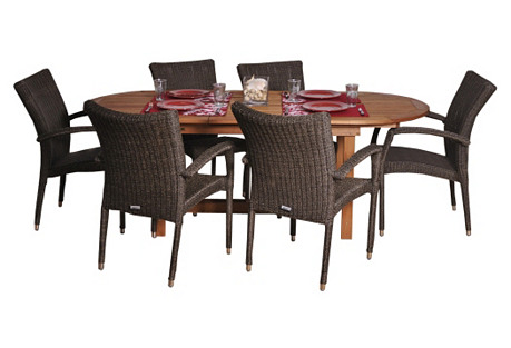Lemans 7-Pc Deluxe Outdoor Dining Set