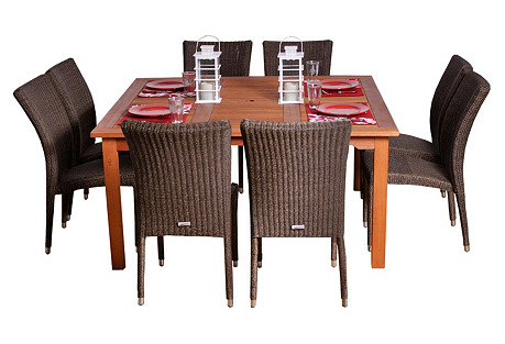 Provence 9-Pc Square Outdoor Dining Set