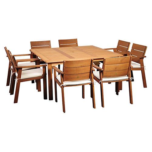 Nelson Eucalyptus 9Pc Outdoor Dining Set
