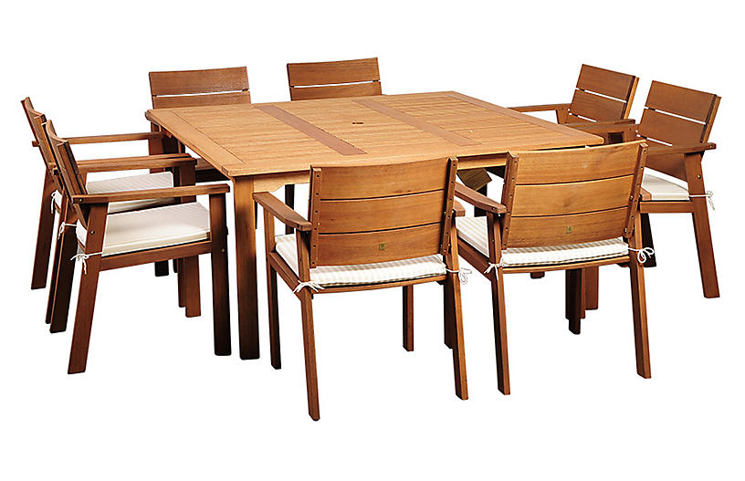 Nelson Eucalyptus 9Pc Outdoor Dining Set