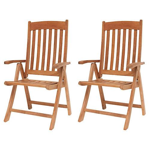 Belfast Teak Position Chairs, Pair