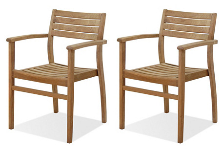 S/4 Coventry Teak Outdoor Stack Chairs