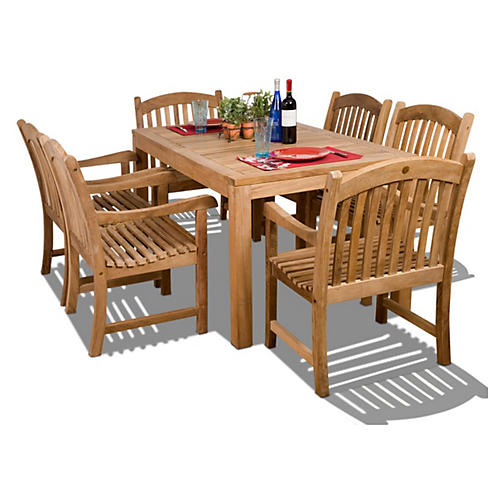 Oslo 7-Pc Teak Rect. Outdoor Dining Set
