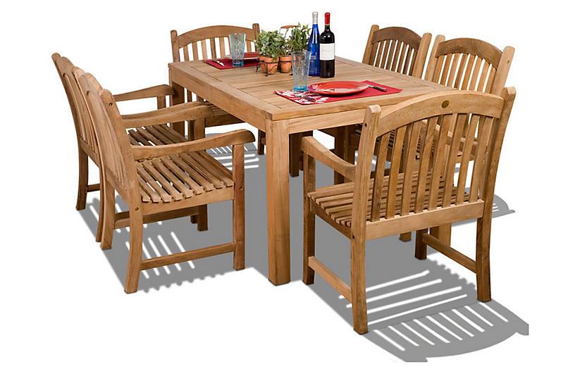 Oslo 7-Pc Teak Rect. Outdoor Dining Set