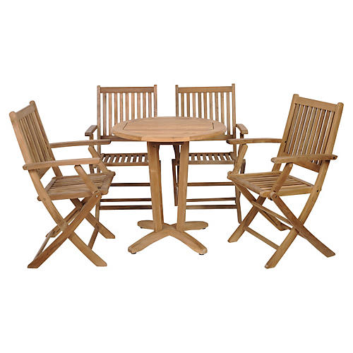 Kansas 5-Pc Teak Rnd. Outdoor Bistro Set