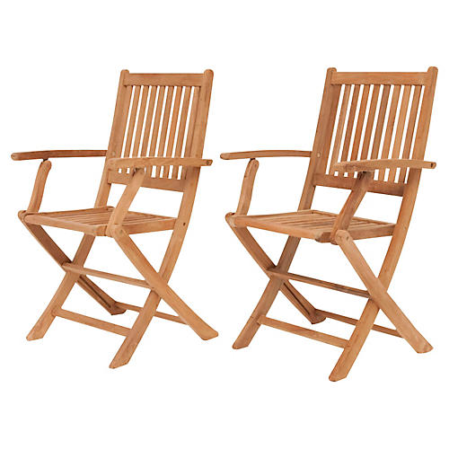 London Teak Outdoor Folding Chairs, Pair