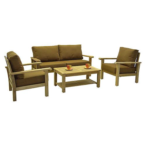 Gilli 4-Pc Outdoor Teak Set w/ Cushions